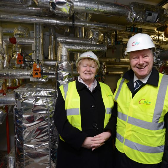 Cabinet Secretary Alex Neil visited Cube's new heating scheme.