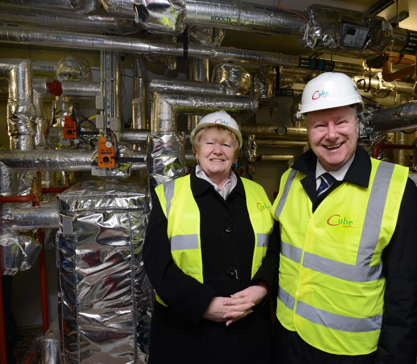 Cabinet Secretary Alex Neil visited Cube's new heating scheme.