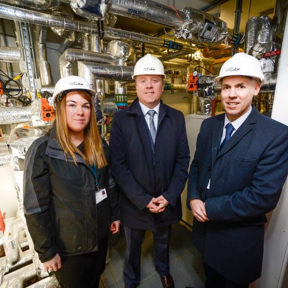 MSP Bob Doris joins Cube staff at the Gorget district heating centre