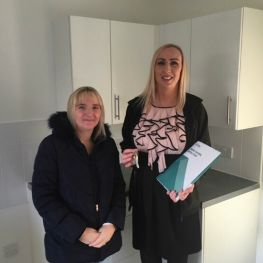 Tenant Heather Pennell with housing officer Alanna Thornton at Park View, Miller Road new-build